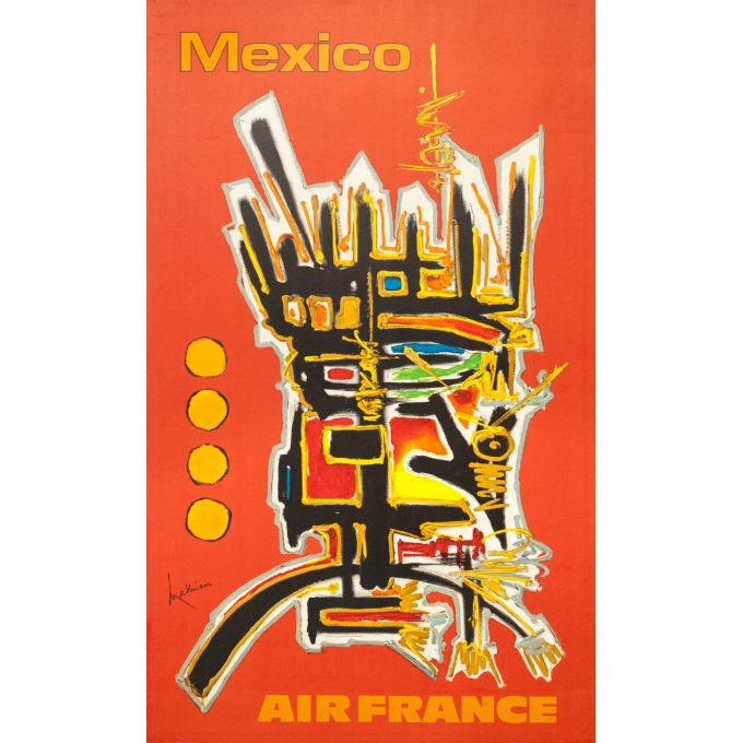 Vintage travel poster - Mathieu - 1968 - Air France Mexico - 39.2 by 23.8 inches