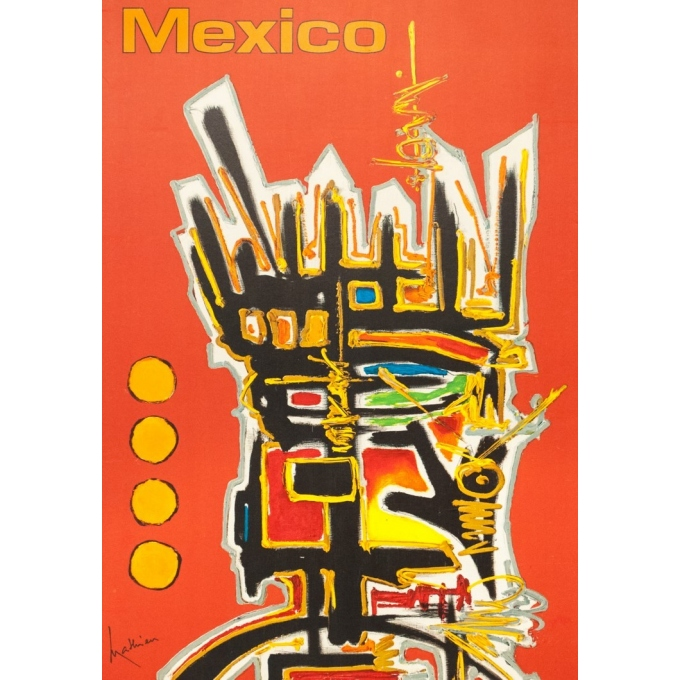 Vintage travel poster - Mathieu - 1968 - Air France Mexico - 39.2 by 23.8 inches - 2