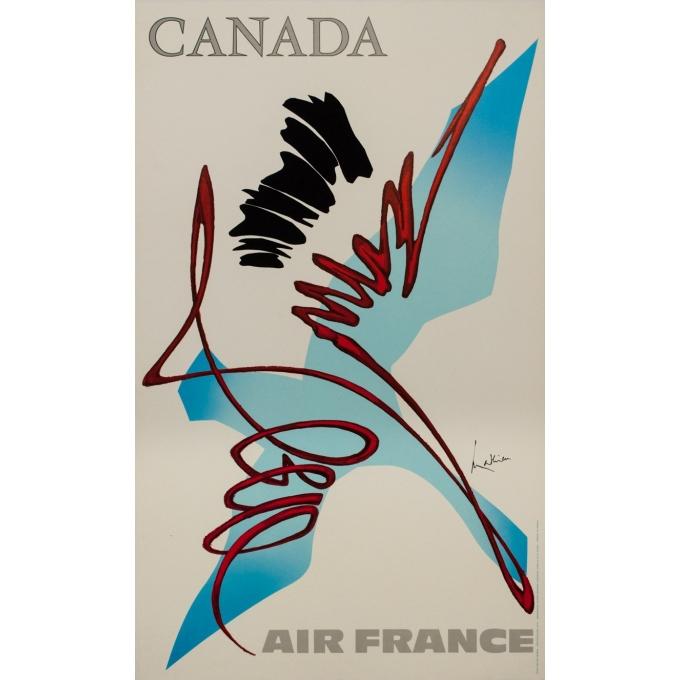 Affiche ancienne de voyage - Mathieu - 1968 - Air France Canada - 100 par 60 cm