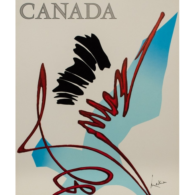 Vintage travel poster - Mathieu - 1968 - Air France Canada - 39.4 by 23.6 inches - 2
