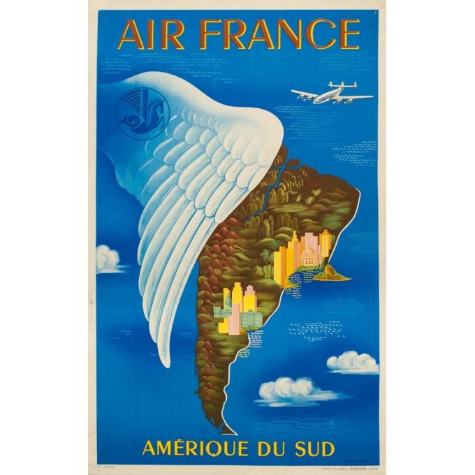 Affiche ancienne de voyage - Lucien Boucher - 1950 - Air France Amérique Du Sud - 99 par 61 cm