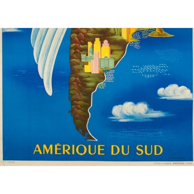 Affiche ancienne de voyage - Lucien Boucher - 1950 - Air France Amérique Du Sud - 99 par 61 cm - 3