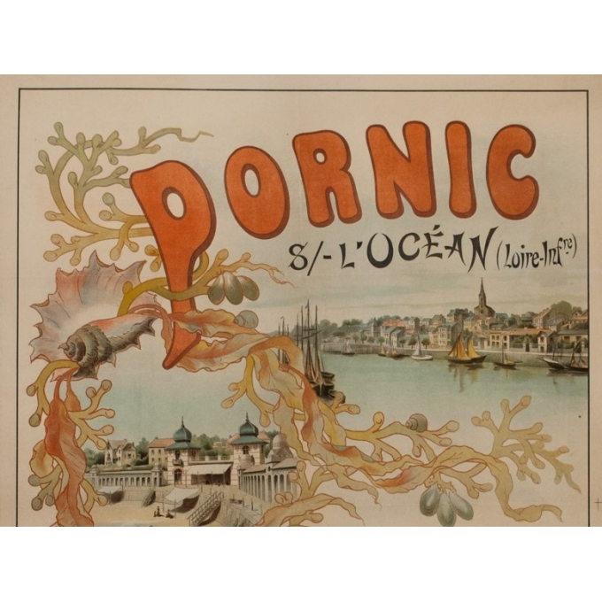 Vintage travel poster - Romieux - Circa 1900 - Pornic Sur L'Océan - 43.3 by 29.9 inches - 2