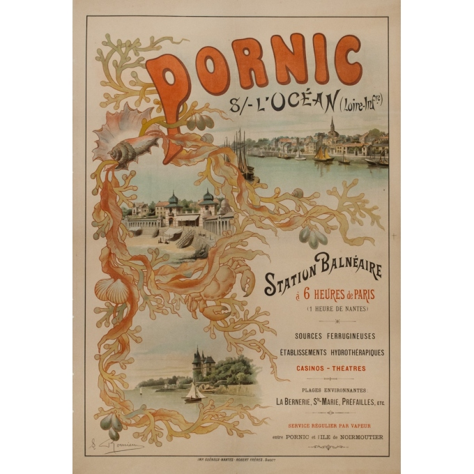Vintage travel poster - Romieux - Circa 1900 - Pornic Sur L'Océan - 43.3 by 29.9 inches