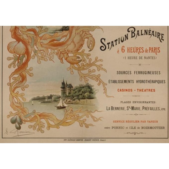 Vintage travel poster - Romieux - Circa 1900 - Pornic Sur L'Océan - 43.3 by 29.9 inches - 3