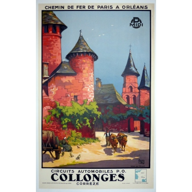 Affiche ancienne de voyage en France - Collonges corrèze