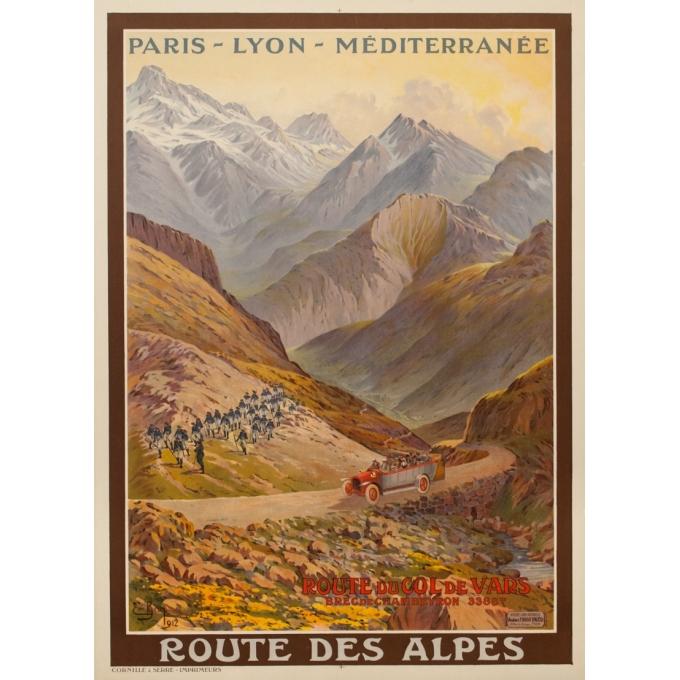 Affiche ancienne de voyage - Emanuel Brun - 1912 - Route Du Col De Vars - 108.5 par 78.5 cm