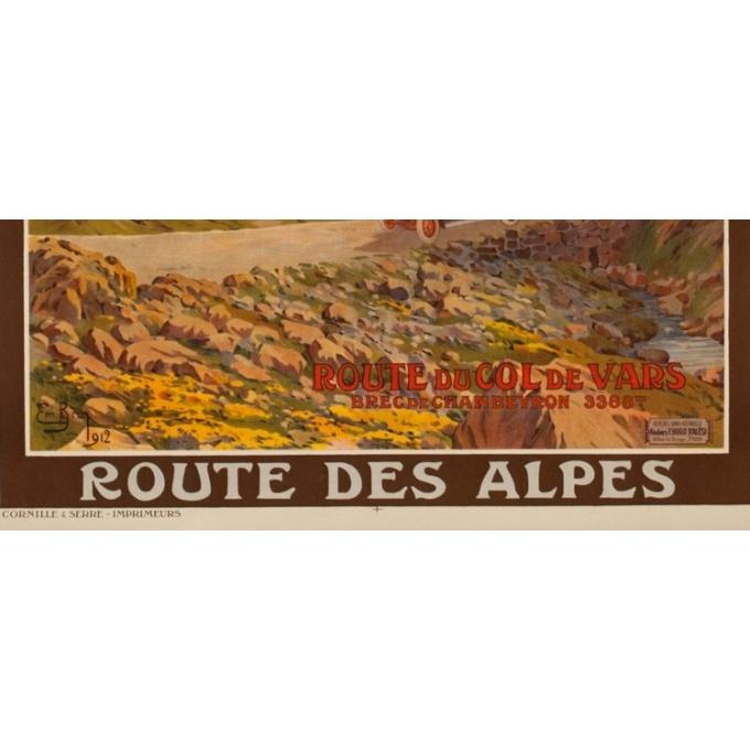 Affiche ancienne de voyage - Emanuel Brun - 1912 - Route Du Col De Vars - 108.5 par 78.5 cm - 3