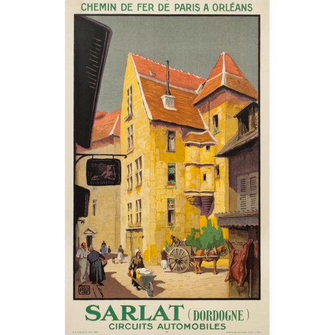 Affiche ancienne de voyage - Hallo - 1930 - Sarlat Dordogne - 100 par 62 cm