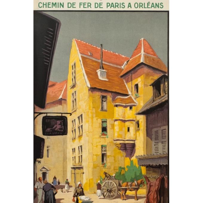 Affiche ancienne de voyage - Hallo - 1930 - Sarlat Dordogne - 100 par 62 cm - 2