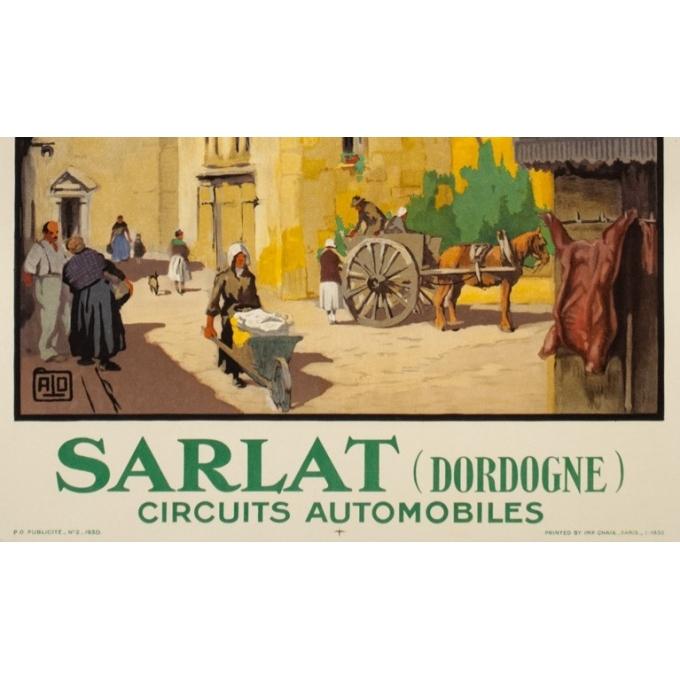Affiche ancienne de voyage - Hallo - 1930 - Sarlat Dordogne - 100 par 62 cm - 3