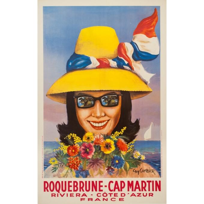 Affiche ancienne de voyage - Guy Cambier - Circa 1955 - Roquebrune Cap Martin Côte D'Azur - 99 par 62.5 cm