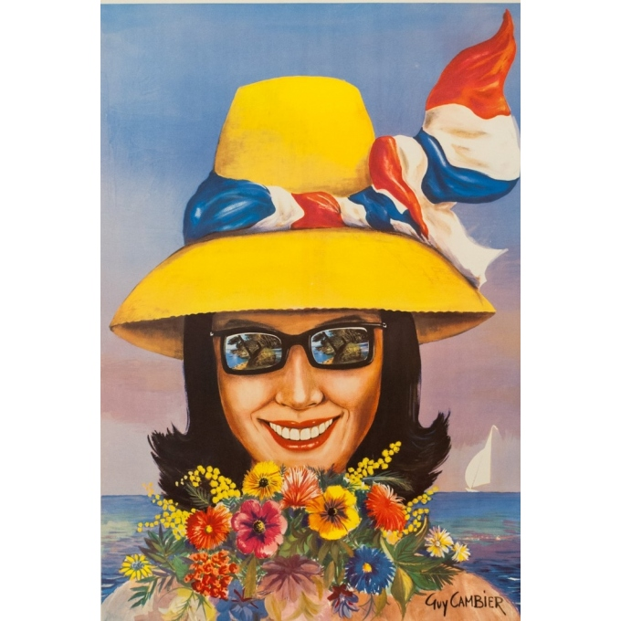 Vintage travel poster - Guy Cambier - Circa 1955 - Roquebrune Cap Martin Côte D'Azur - 39 by 24.6 inches - 2