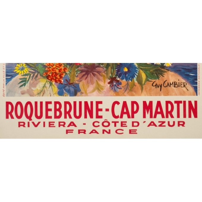 Vintage travel poster - Guy Cambier - Circa 1955 - Roquebrune Cap Martin Côte D'Azur - 39 by 24.6 inches - 3