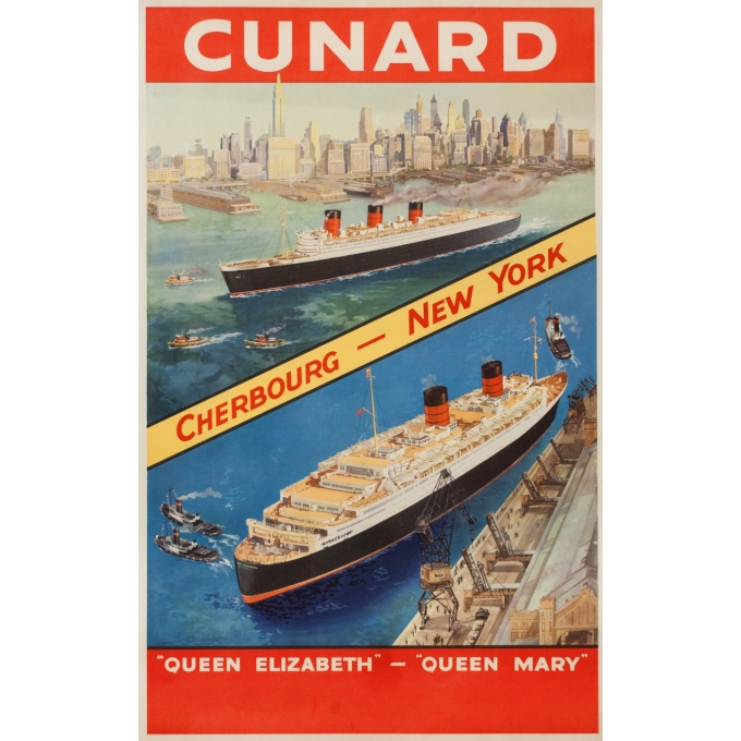 Vintage travel poster - Anonyme - Circa 1950 - Cunard Cherbourg New York - 40.2 by 24.8 inches