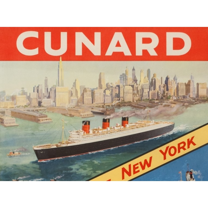 Affiche ancienne de voyage - Anonyme - Circa 1950 - Cunard Cherbourg New York - 102 par 63 cm - 2