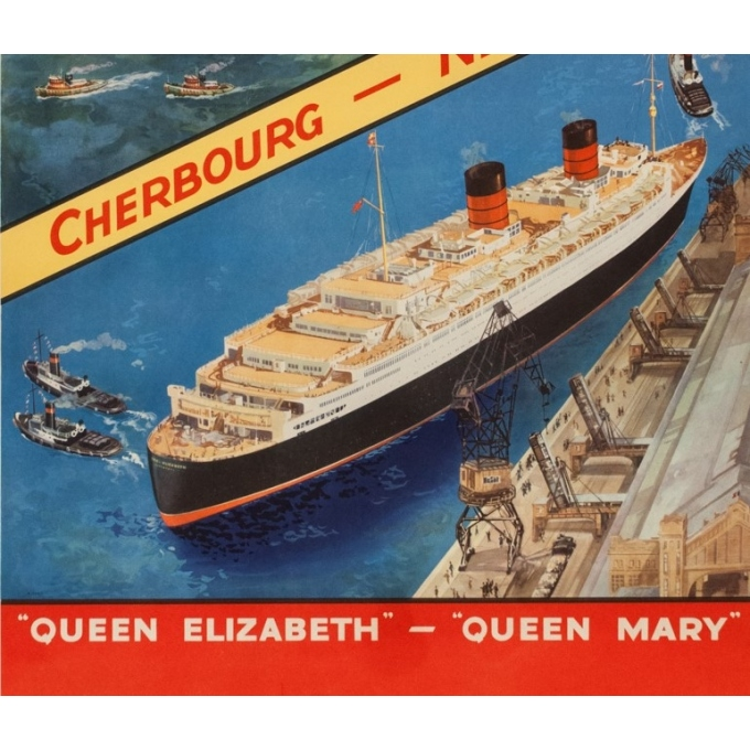 Vintage travel poster - Anonyme - Circa 1950 - Cunard Cherbourg New York - 40.2 by 24.8 inches - 3