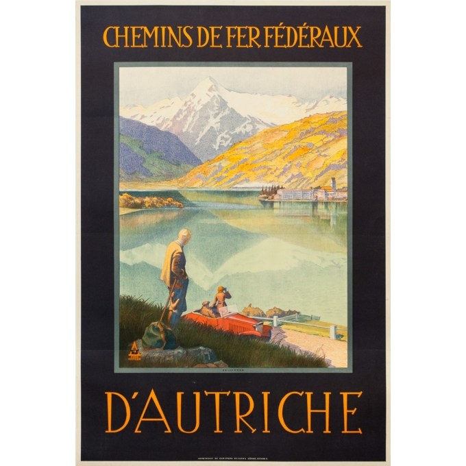 Affiche ancienne de voyage - Exax Sptizer - Circa 1935 - Chemin De Fer Fédéreaux D'Autriche Zellersee - 95 par 64 cm