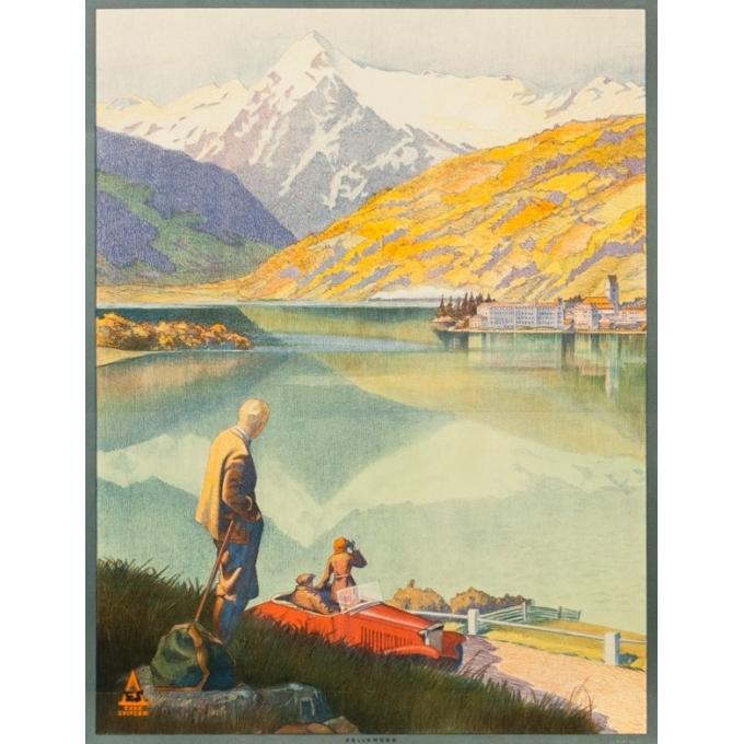Vintage travel poster - Exax Sptizer - Circa 1935 - Chemin De Fer Fédéreaux D'Autriche Zellersee - 37.4 by 25.2 inches - 2