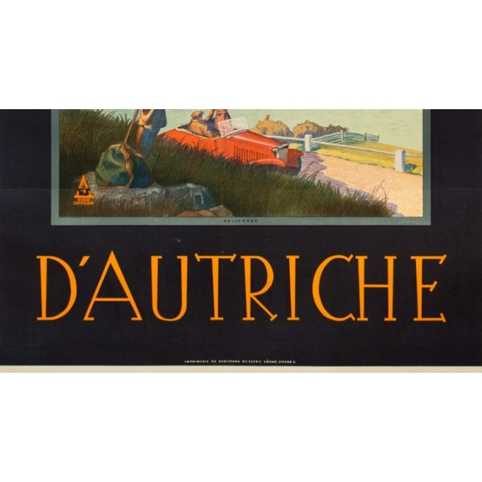 Affiche ancienne de voyage - Exax Sptizer - Circa 1935 - Chemin De Fer Fédéreaux D'Autriche Zellersee - 95 par 64 cm - 3
