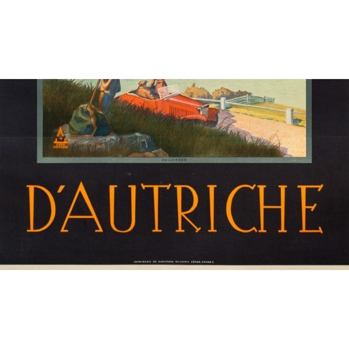 Vintage travel poster - Exax Sptizer - Circa 1935 - Chemin De Fer Fédéreaux D'Autriche Zellersee - 37.4 by 25.2 inches - 3