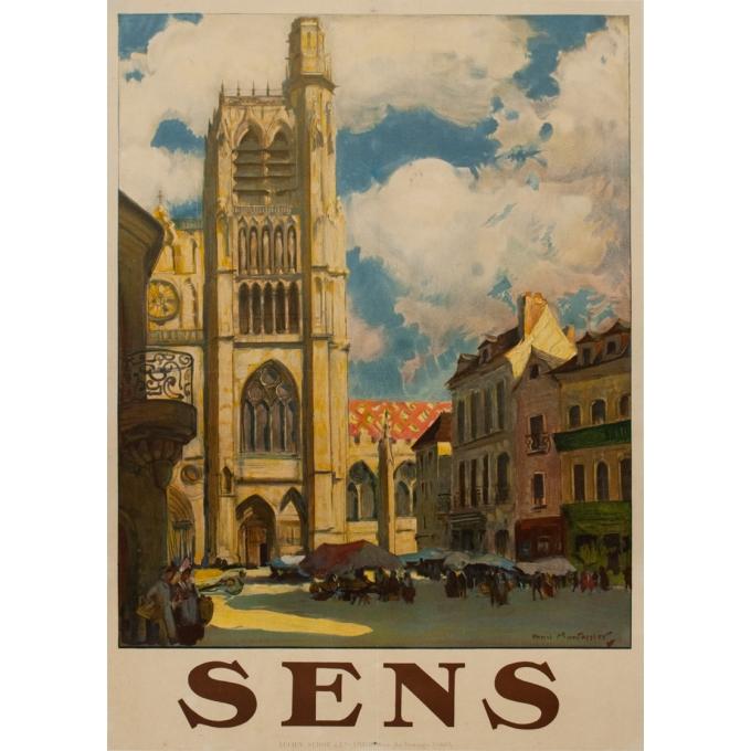 Affiche ancienne de voyage - Henri Montassier - Circa 1910 - Sens - 106.5 par 76 cm