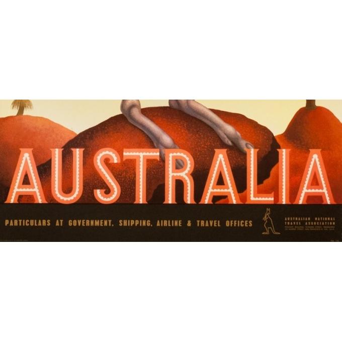 Vintage travel poster - Eileen Mayo - Circa 1950 - Australia Australie - 39.6 by 25 inches - 3