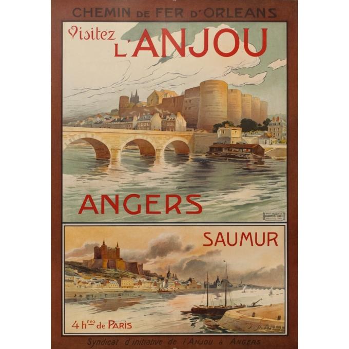 Affiche ancienne de voyage - A.Dubos - Circa 1910 - Visitez L'Anjou Angers Saumur - 107.5 par 75 cm
