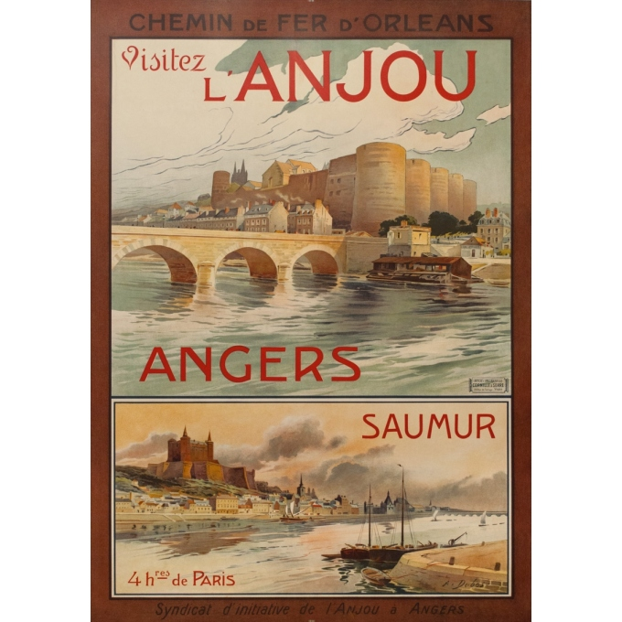 Vintage travel poster - A.Dubos - Circa 1910 - Visitez L'Anjou Angers Saumur - 42.3 by 29.5 inches
