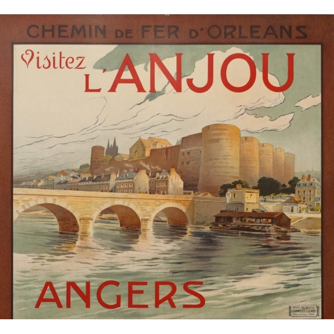 Affiche ancienne de voyage - A.Dubos - Circa 1910 - Visitez L'Anjou Angers Saumur - 107.5 par 75 cm - 2