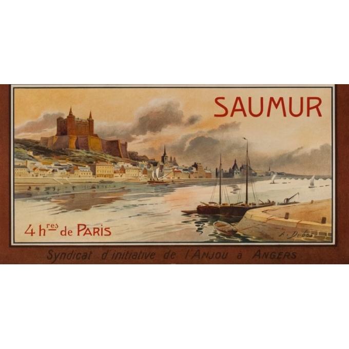 Affiche ancienne de voyage - A.Dubos - Circa 1910 - Visitez L'Anjou Angers Saumur - 107.5 par 75 cm - 3