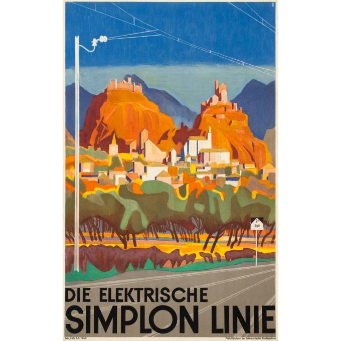 Affiche ancienne de voyage - B. - Circa 1950 - Ligne Du Simplon - 102 par 64 cm