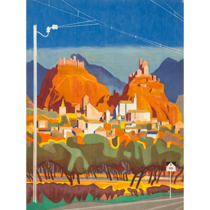 Affiche ancienne de voyage - B. - Circa 1950 - Ligne Du Simplon - 102 par 64 cm - 2
