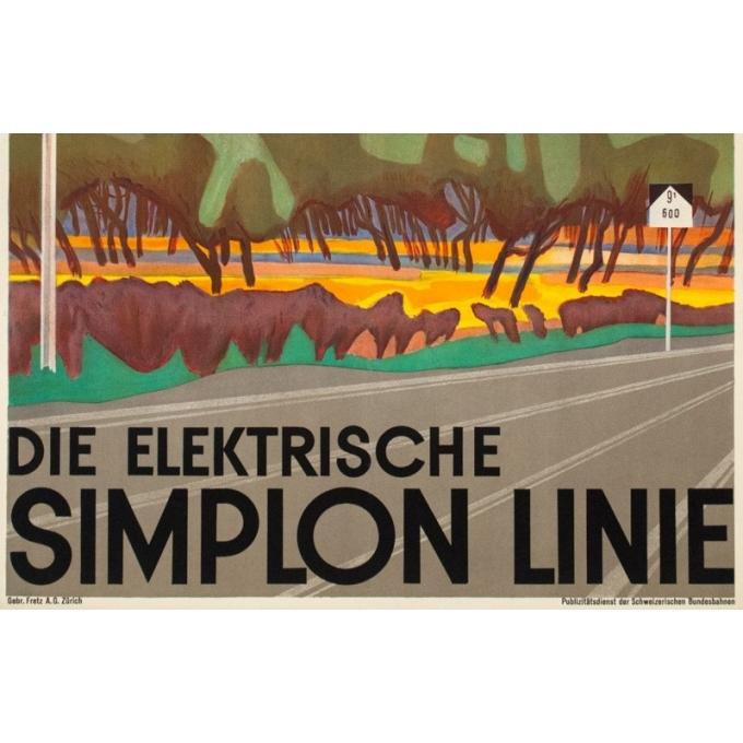 Affiche ancienne de voyage - B. - Circa 1950 - Ligne Du Simplon - 102 par 64 cm - 3