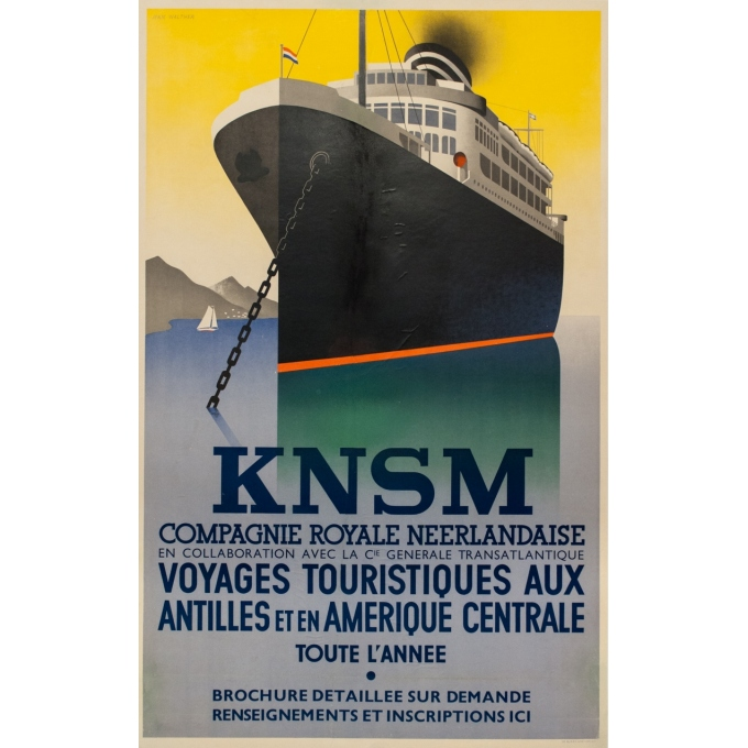 Vintage travel poster - Jean Walther - Circa 1930 - Knsm Compagnie Royale Néerlandaise - 39.6 by 26.8 inches