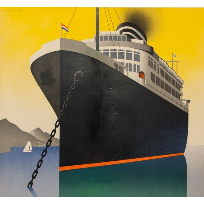 Vintage travel poster - Jean Walther - Circa 1930 - Knsm Compagnie Royale Néerlandaise - 39.6 by 26.8 inches - 2