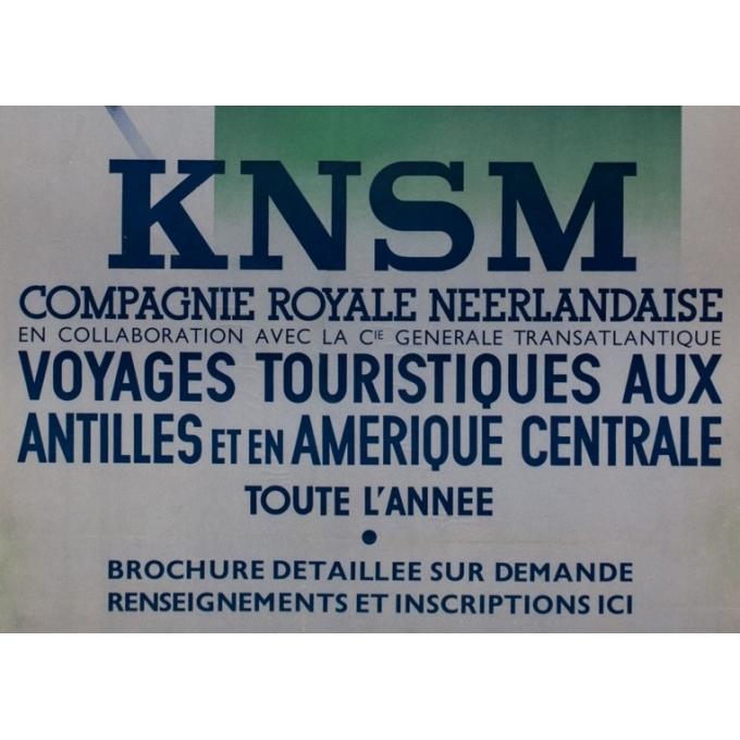 Affiche ancienne de voyage - Jean Walther - Circa 1930 - Knsm Compagnie Royale Néerlandaise - 100.5 par 68 cm - 3