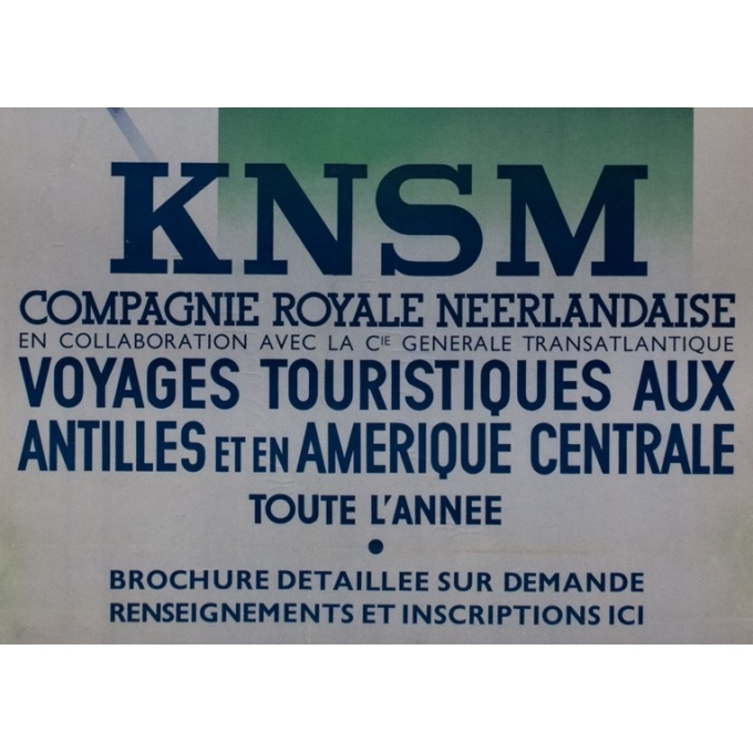 Vintage travel poster - Jean Walther - Circa 1930 - Knsm Compagnie Royale Néerlandaise - 39.6 by 26.8 inches - 3