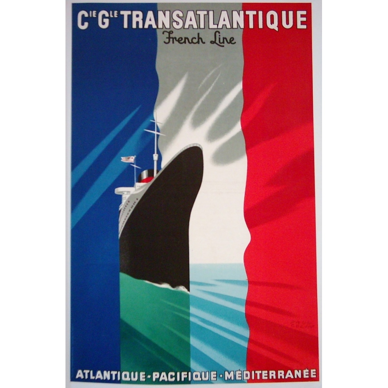 An original vintage poster of the Transatlantic general company. Elbé paris.
