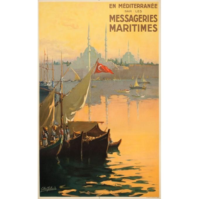 Affiche ancienne de voyage - G.Galland - Circa 1925 - En Méditerranée Par Les Messagerie Maritimes Istanbul - 100.5 par 62 cm