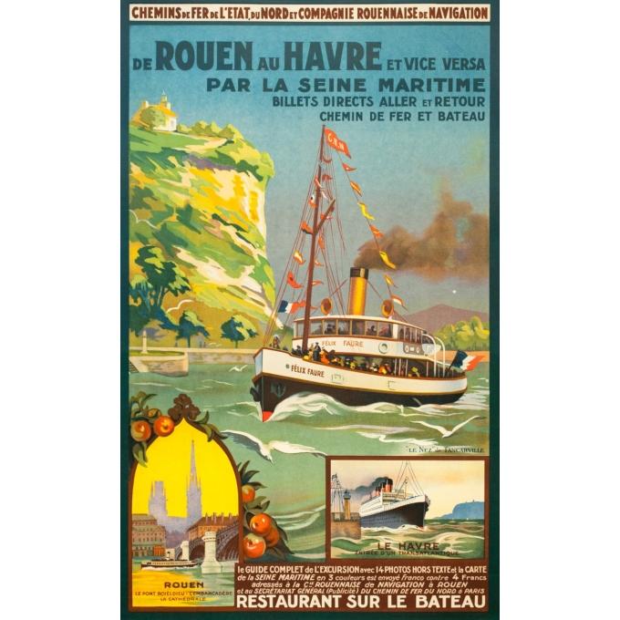 Affiche ancienne de voyage - Anonyme - Circa 1930 - De Rouen Au Havre Par La Seine Maritime - 101 par 62 cm