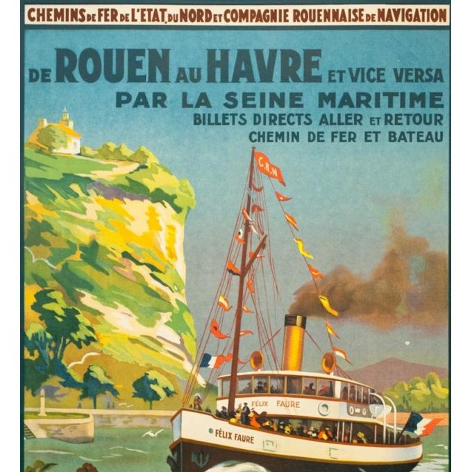 Affiche ancienne de voyage - Anonyme - Circa 1930 - De Rouen Au Havre Par La Seine Maritime - 101 par 62 cm - 2