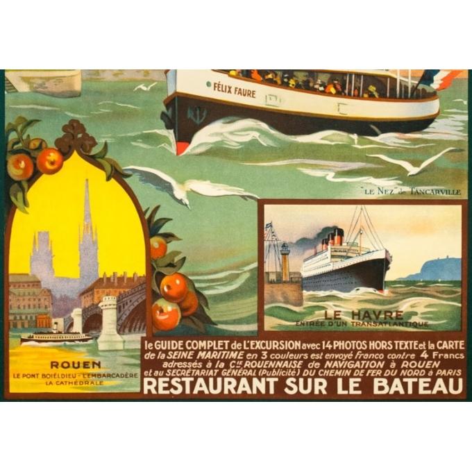 Affiche ancienne de voyage - Anonyme - Circa 1930 - De Rouen Au Havre Par La Seine Maritime - 101 par 62 cm - 3