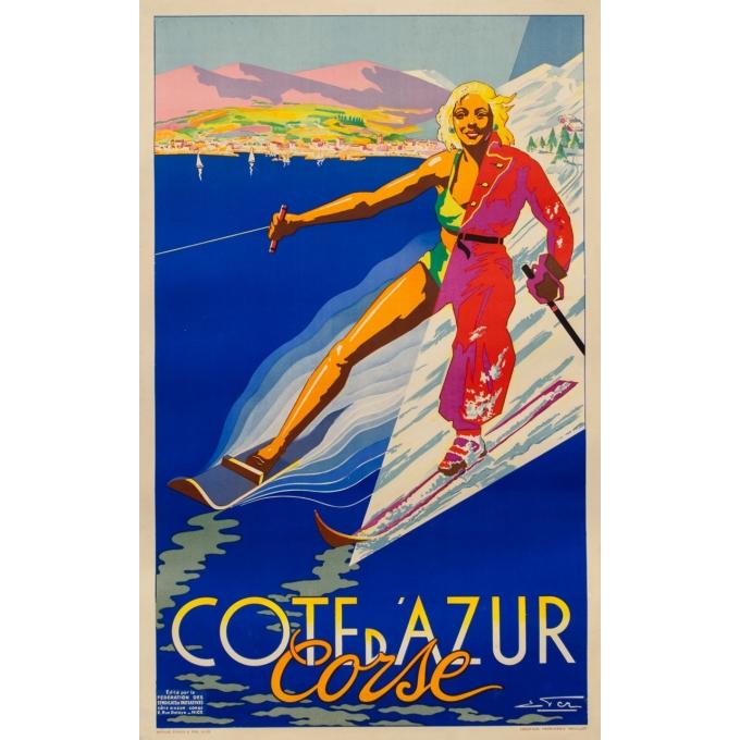 Affiche ancienne de voyage - Eter - Circa 1950 - Côte D'Azur Corse - 99 par 61 cm
