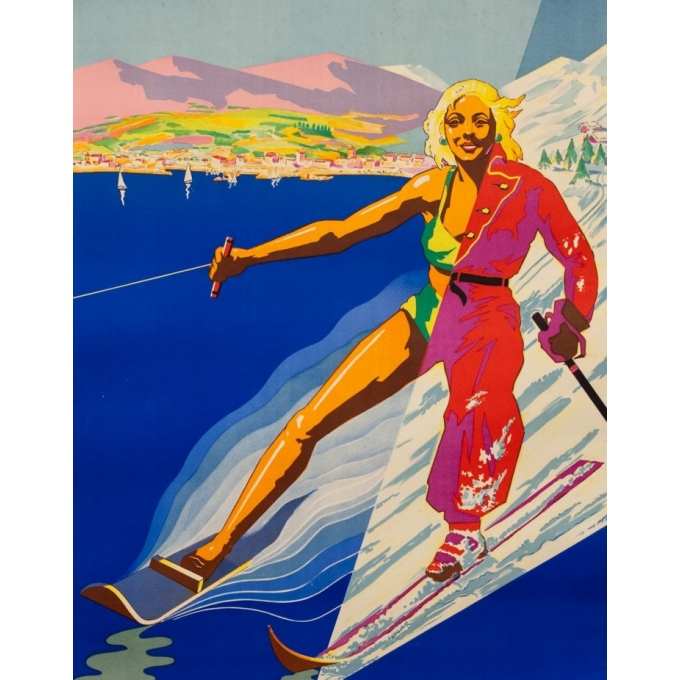 Vintage travel poster - Eter - Circa 1950 - Côte D'Azur Corse - 39 by 24 inches - 2