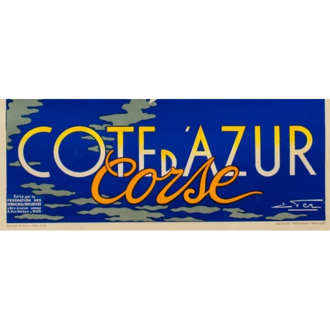 Vintage travel poster - Eter - Circa 1950 - Côte D'Azur Corse - 39 by 24 inches - 3