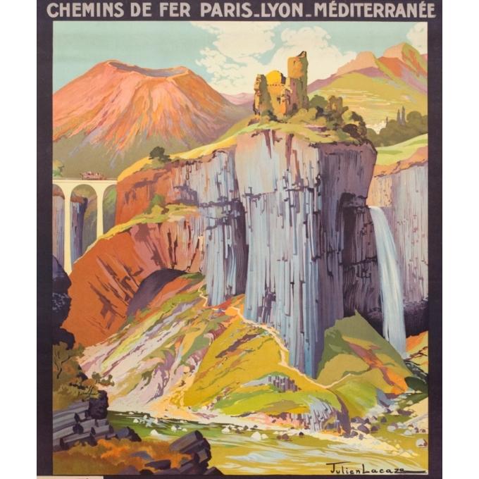 Affiche ancienne de voyage - Julien Lacaze - Circa 1920 - Le Vivarais Ardèche PLM - 106 par 76 cm - 2