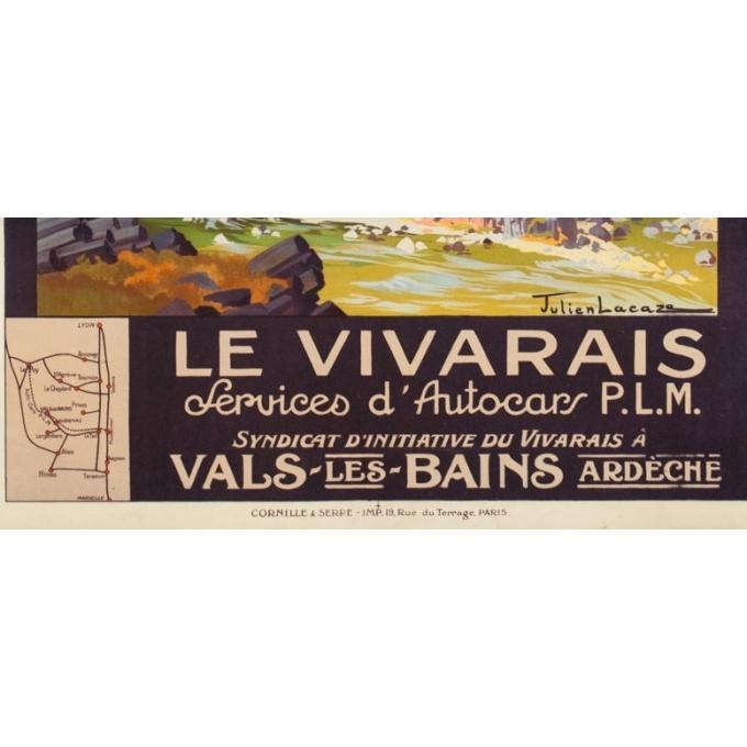Affiche ancienne de voyage - Julien Lacaze - Circa 1920 - Le Vivarais Ardèche PLM - 106 par 76 cm - 3