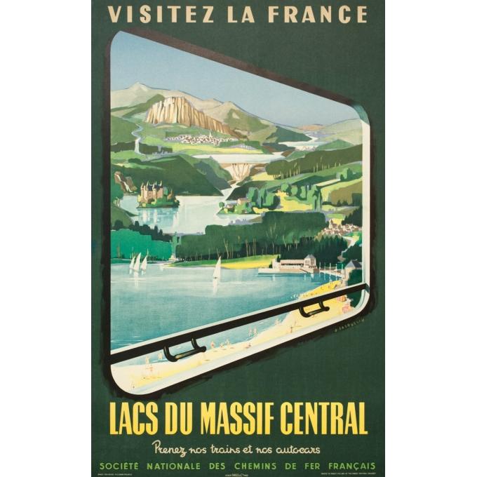Vintage travel poster - J.Jacquelin - 1954 - Visitez La France Lacs Du Massif Central - 39.4 by 24.4 inches