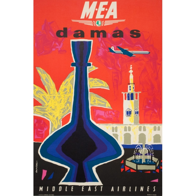 Affiche ancienne de voyage - Auriac - Circa 1960 - Damas Middle East Air Lines MEA - 80 par 53 cm